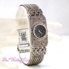 Silver & Black Victorian Deco Baroque Nouveau Regency Marcasite Bracelet Watch