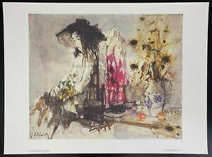 """""""Femme Au Bouquet"""" Vintage Fine Art Lithograph by artist Jean Jansem"""