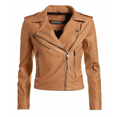 Superdry Mujer Chaqueta Lux Biker Tan