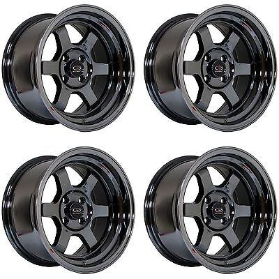 "4 x Rota Grid-V Titanium Chrome Alloy Wheels 15x8"" ET0 4x100 PCD 67.1mm CB"