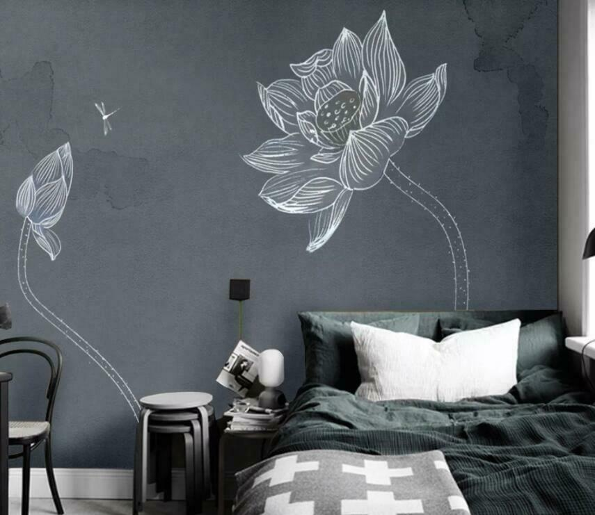 3D Kunst Lotus M2096 Tapete Wandbild Selbstklebend Abnehmbare Aufkleber Amy