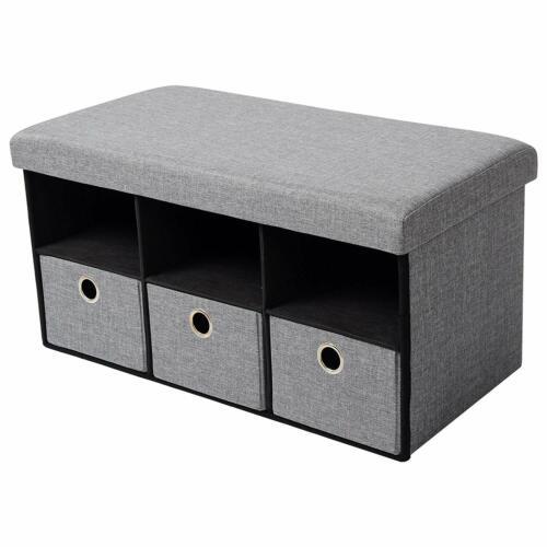 Sitzhocker Stauraum Sitzbank Schuhregal Aufbewahrungsbox Truhen faltbar Leinen