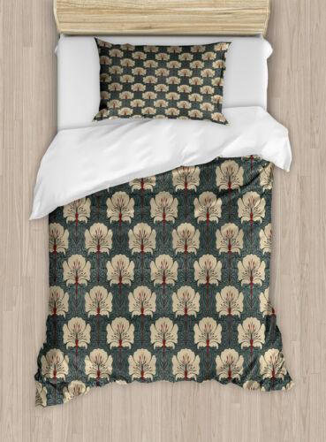 Floral Duvet Cover Set with Pillow Shams Art Nouveau Poppies Print