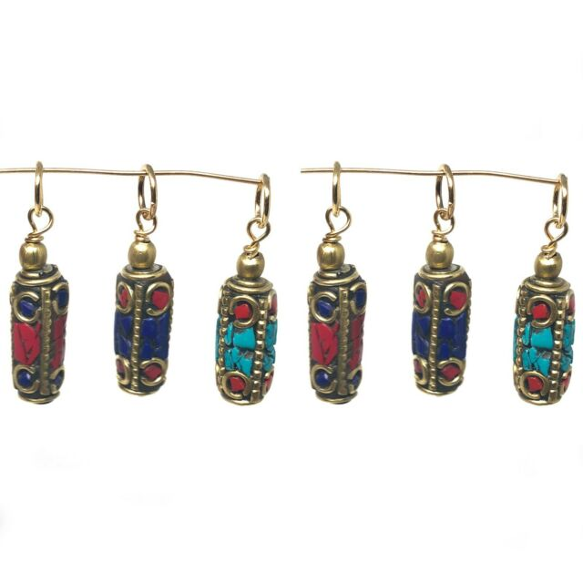 Mini Charms 6 pcs Turquoise Coral Lapis Jewelry Designing Craft Supply CHB07a