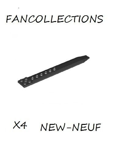 Black Plate 62743  NEUF Modified 2x16 with Angled Side Extensions LEGO x 4