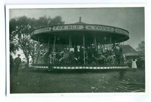 FF-0018-J-Collins-Strung-3-abreast-Horse-Carousel-Vintage-Photograph
