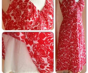Boden-Precioso-Vestido-De-Algodon-Riviera-Verano-Floral-Rosas-Rojas-del-Reino-Unido-8-10-12-14-16