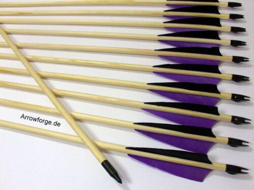 """20 holzpfeile langbogen flèches Flèches Nature plumes 4/"""" shield violet//Noir"""