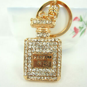 Square-Perfume-Bottle-Lovely-Pendent-Cute-Swarovski-Crystal-Purse-Bag-Key-Chain