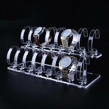 Acrylic 2-Tier Wrist Watch Bracelet Display Rack Stand Holder 1 Set Clear