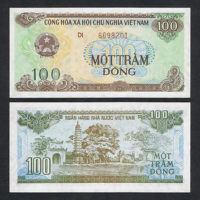 """#876 VIETNAM 100 DONG 1991 /""""Large Serial Number/"""" Uncirculated Pick# 105b"""