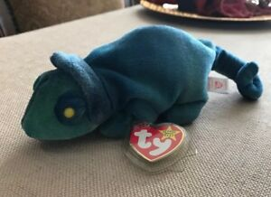47281d7f7a4 1997 Ty Original Beanie Babies RAINBOW The Blue Green Chameleon w ...