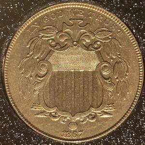 1867-Shield-Nickel-No-Rays-AU-BU-Without-Rays-5c