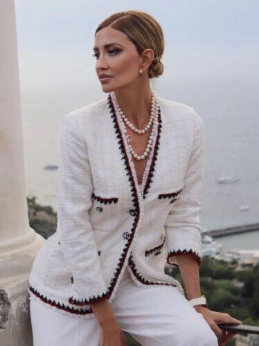 ZARA Tweed Deshilachado Chaqueta Blazer Talla S M L XL RRP £ 89.99