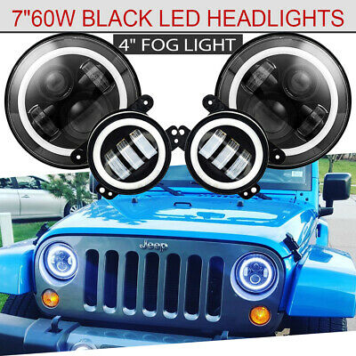 For 07-18 Jeep Wrangler Unlimited JK 4-door LED Headlight+Fog Light Combo Kit 4x