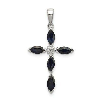 925 Sterling Silver Polished Rhodium-plated Rhodium Dark Sapphire and Diamond Cross Pendant