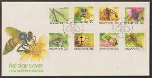 (F113)SINGAPORE 1985 INSECTS LOW VALUES DEFINITIVE FDC