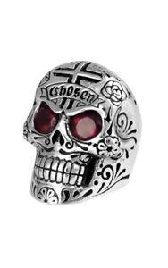 c62e737076ca1 Details about King Baby Large Skull Ring w/Chosen Cross & Garnet Eyes  K20-5304