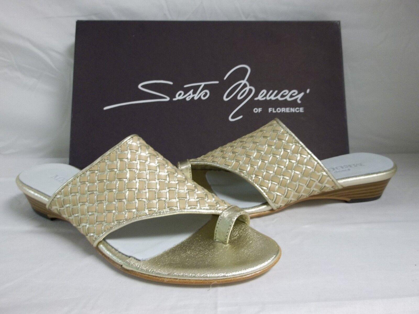 Sesto Meucci Of Florence Sz 6.5 M Geva Platino Leder Sandales NEU Damenschuhe Schuhes