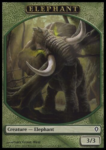Green 3//3 Grant-West Art MTG Magic NM Elephant Token 10x