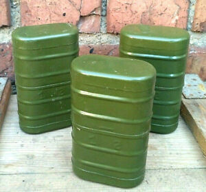 Tin-Box-Container-Army-Tank-USSR-Vintage-Lot-of-3-pcs-Military