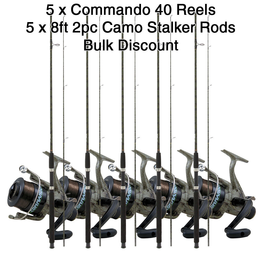 Wholesale Job Lot 5x Commando 40 Coarse Fishing Fishing Fishing Reels + 5x 8ft Camo Stalker Rods cbaf02