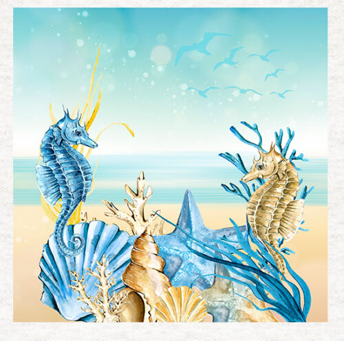 Sea Horse Fabric Cushion Upholstery Craft Quilting Panel Seaside Shells A