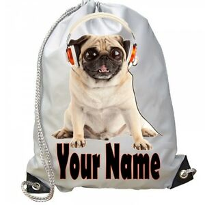 37af6daa99d8 Image is loading GIRLS-Personalised-Pug-With-Earphones-Bag-for-School-