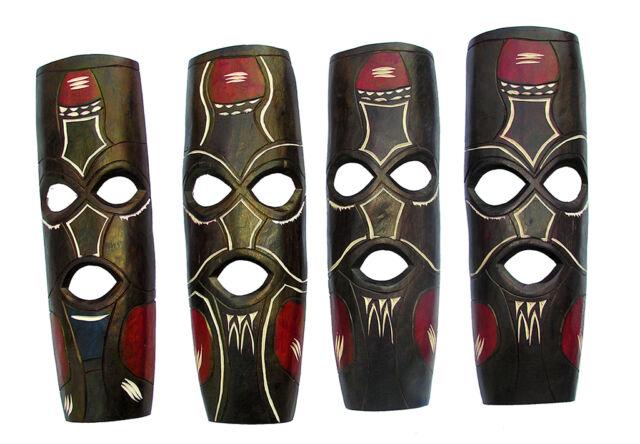 Medium Brown & Red Hand Carved African Mask in Jacaranda Wood