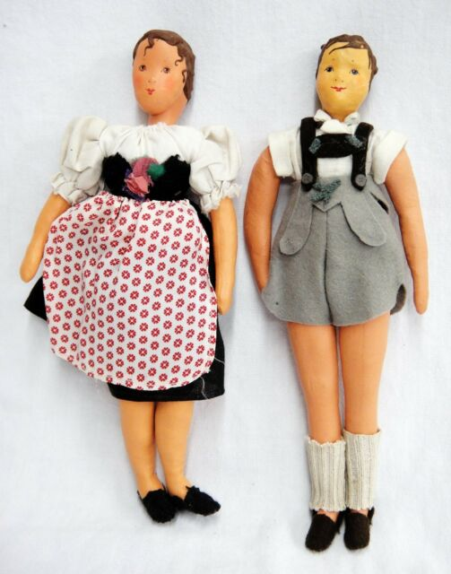 Vintage Pair of Oilcloth Dolls w Bisque or Pottery Heads Traditional Clothes