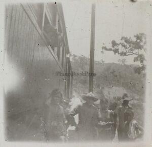 Train-Seins-nus-Indo-Chine-Photo-Plaque-de-verre-Stereo-L19-Vintage-c1910