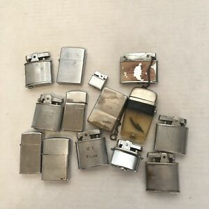 Lot-14-Vintage-Lighters-Cigarette-Chrome-1950s-zippo-kent-Lord-Chesterfield-Tiki