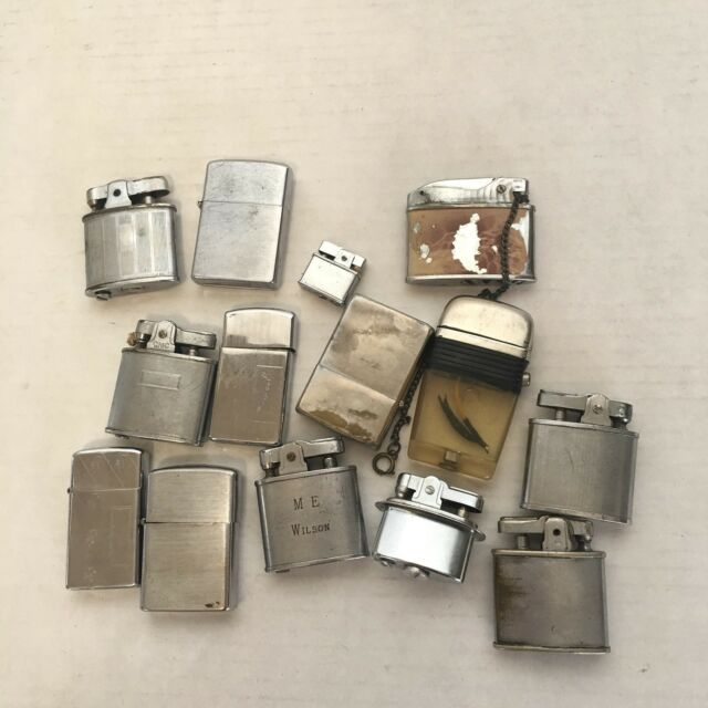 Lot 14 Vintage Lighters Cigarette Chrome 1950s zippo kent Lord Chesterfield Tiki