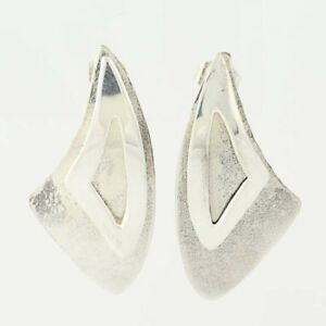 Southwestern-Drop-Earrings-Sterling-Silver-Brushed-Chunky-Aerie-Signed-Pierced