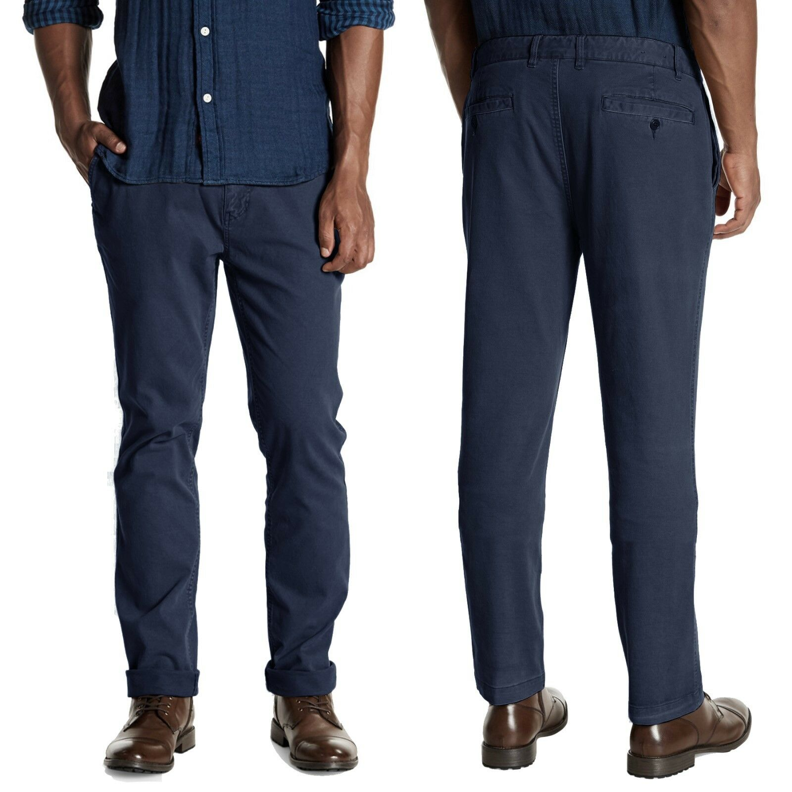 FAHERTY Comfort Canvas Trouser Pants Garment Dyed in Navy 38x34 NWT