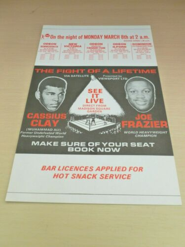 Cassius Clay V Joe Frazier  Boxing Flyer 1971 Fight Shown in Cinema Muhammad Ali