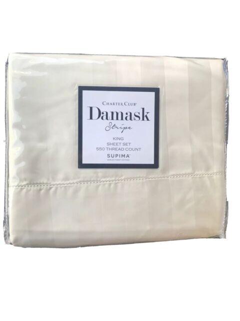 Charter Club King Sheet Set Damask Stripe 550 Tc Supima Cotton Ivory L97241 For Sale Online Ebay