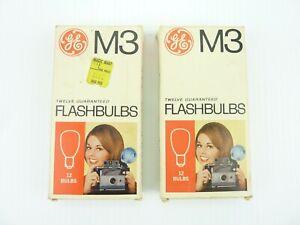 2 Boxes of 12 GE M3 Camera Flash Bulbs in Original Boxes Total 24 Bulbs