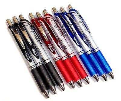 NEW Pentel Gel Ink Ballpoint Pen Energel 0.5 Silver Body Black Red Blue 9set f//s