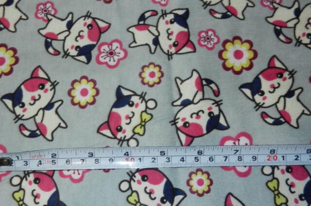 Cotton Flannel Fat Quarter Fabric Japanese Anime Animal Kitten Cat Pink Sakura