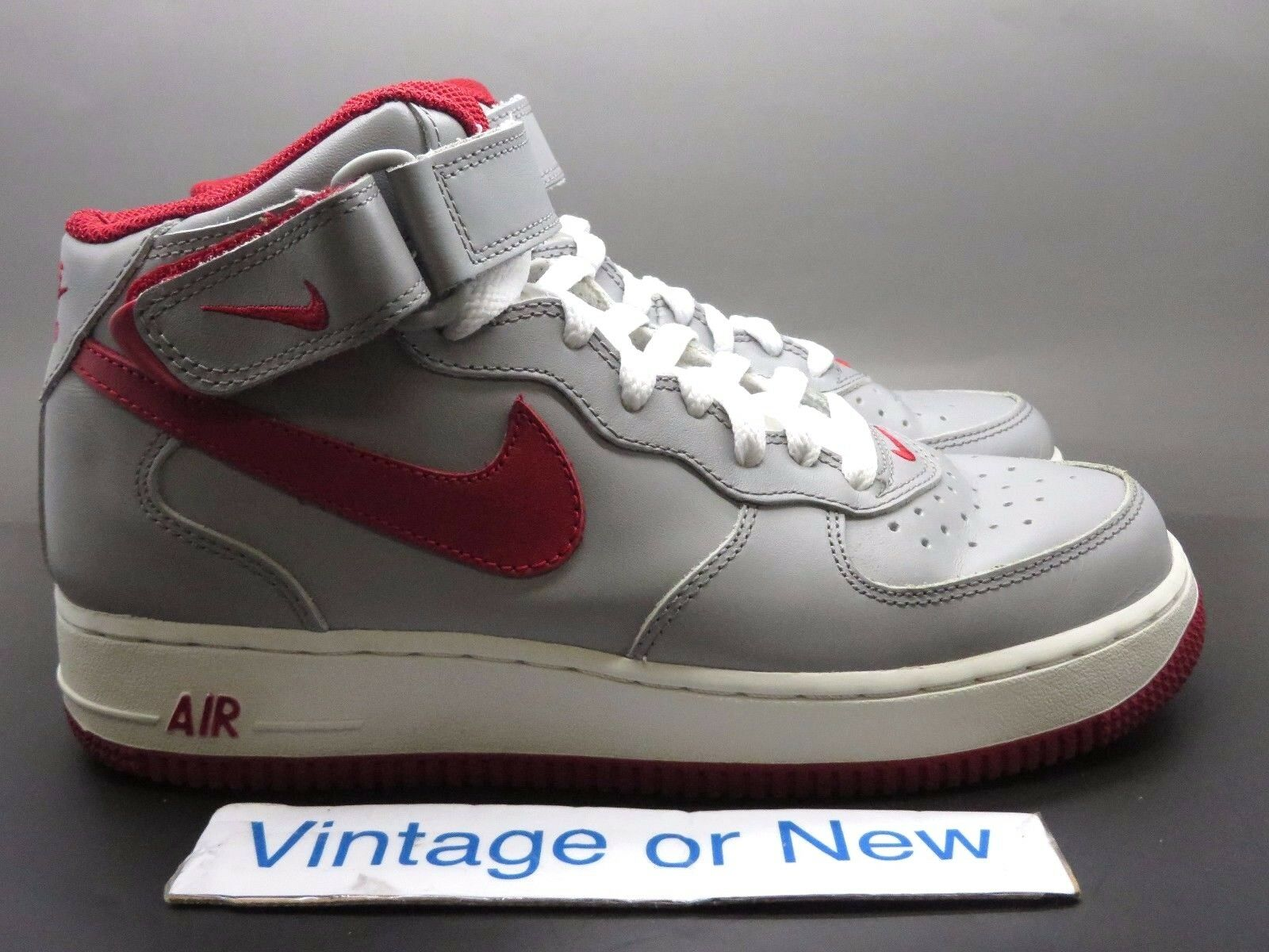 VTG Nike Air Force 1 Mid Medium Grey Varsity Red White 2003 sz 7.5 Scarpe classiche da uomo
