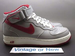 info for 12190 d990e Details about VTG Nike Air Force 1 Mid Medium Grey Varsity Red White 2003  sz 7.5