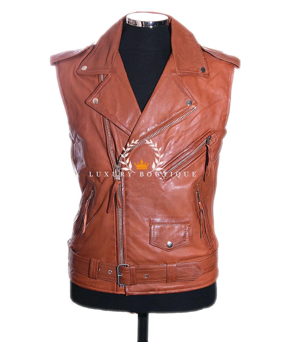 Men's Brando Tan Motorcycle Biker Cruiser Real Leather Waistcoat