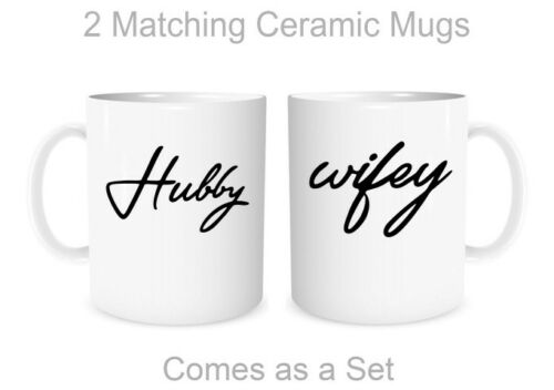 Hubby Wifey Couples Matching Mugs for Husband and Wife His Hers Valentines Gift