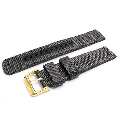 Gray Webbing Watch Band Strap Heavy Quality and Strong Canvas 20mm