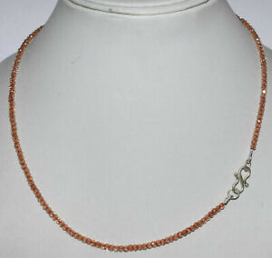 Necklace-Strand-925-Sterling-Silver-Champagne-Zircon-3-mm-Faceted-Beads-HGT214
