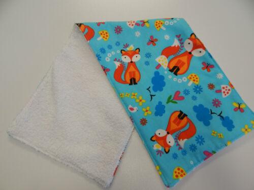 Mr Fox On Aqua Burp Cloth 1 Only Toweling Back GREAT GIFT IDEA!!