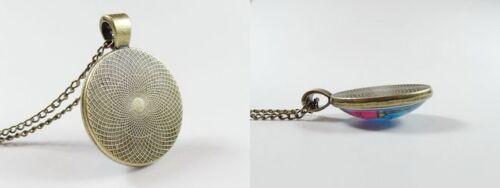 Vintage Antique Bronze Tone Photo Glass Dome Necklace Pendant Chakra Mandala