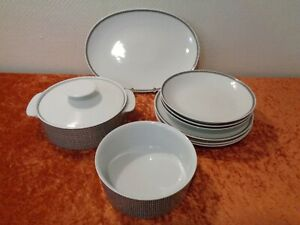 9-PC-Convolute-Thomas-Design-Porcelain-Dinner-Service-Vintage-around-1970