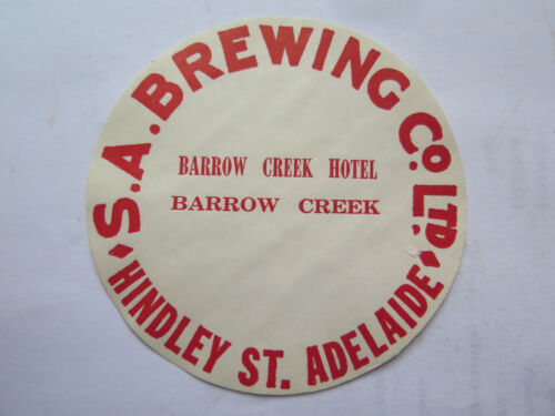 SA BREWING Co BARROW CREEK HOTEL BEER KEG LABEL c1970s BARROW CREEK SOUTH AUST